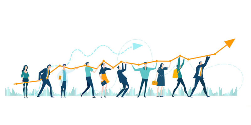 Business people holding growth arrow as a symbol working togethe